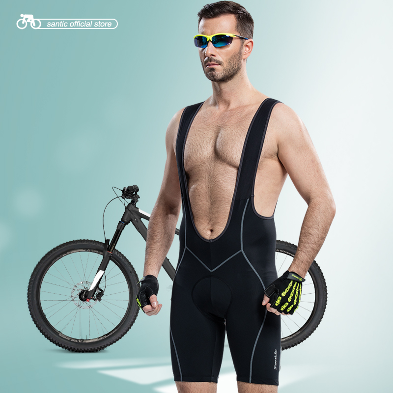 Santic Men Cycling Padded Bib Shorts Coolmax 4D Pad Men s Bib Shorts Cycling Bicycle Bike Bib Shorts Riding Shorts S 3XL C05014