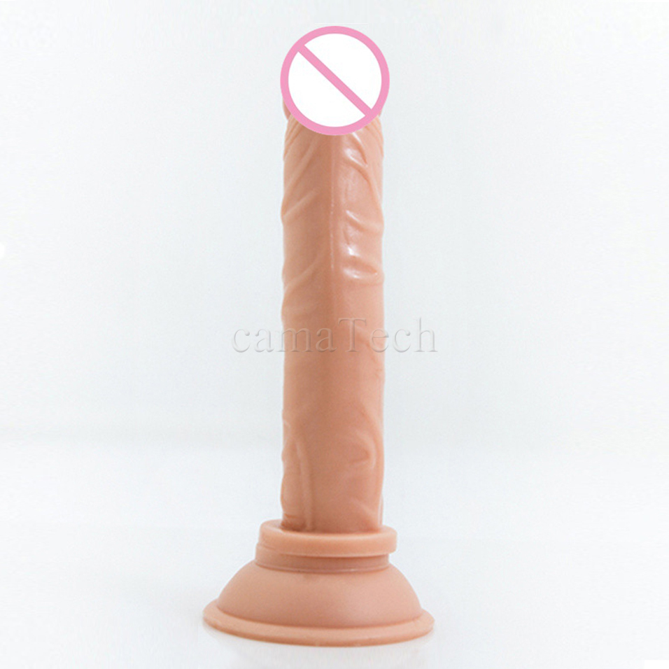 camaTech Realistic Flesh Silicone font b Dildo b font Strong Suction Cup G Spot Masturbator Anal