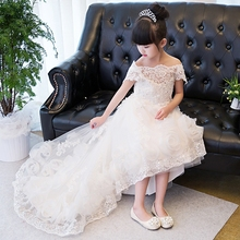 Elegant Sweet Princess Flower Girls For Wedding Prom Party Kids Dress For Girls Luxury Long Embroidery Pierced Lace Dress P59