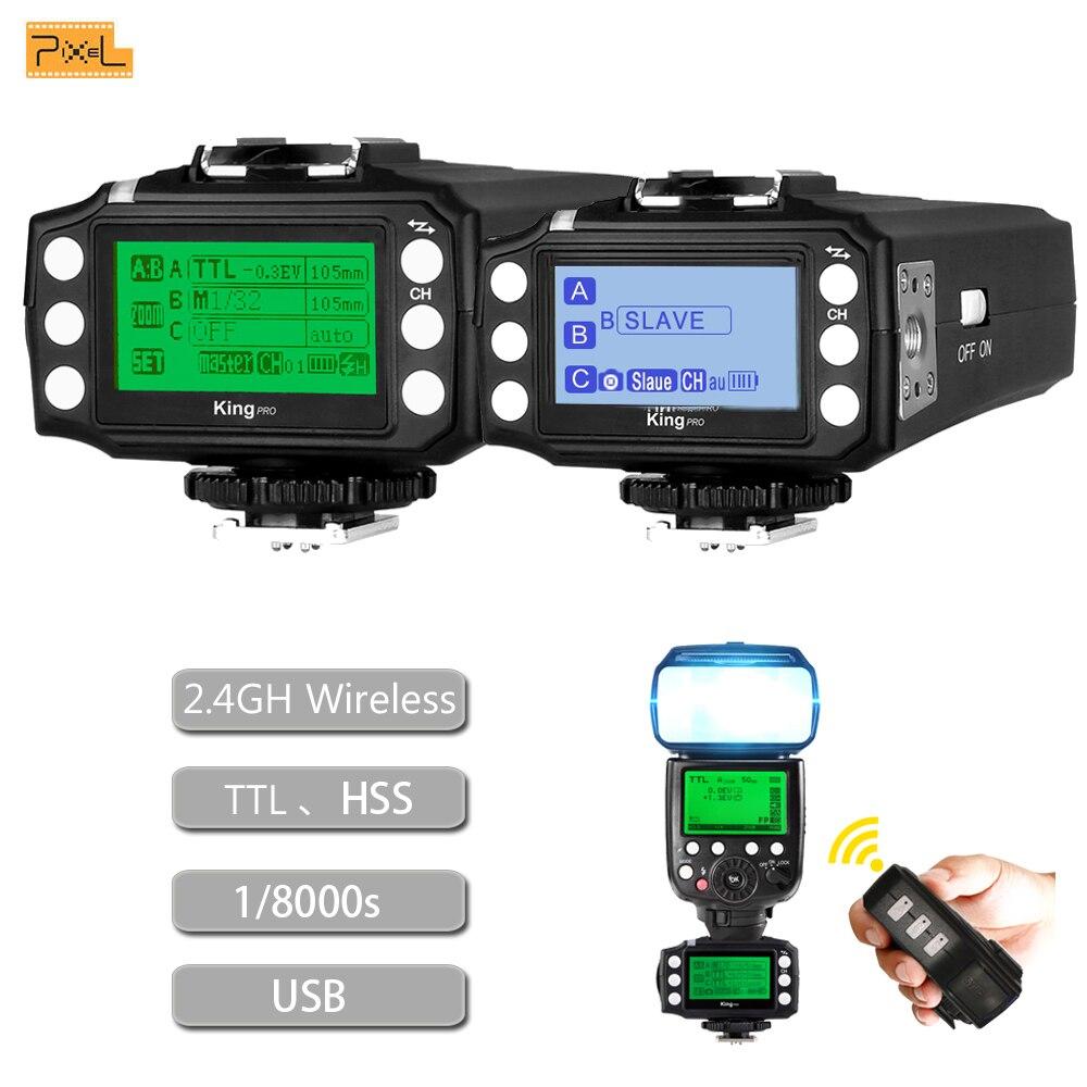 Pixel King pro TTL 2.4G kit transmetteur et récepteur de déclenchement Flash sans fil pour appareil photo reflex numérique Canon Nikon Sony