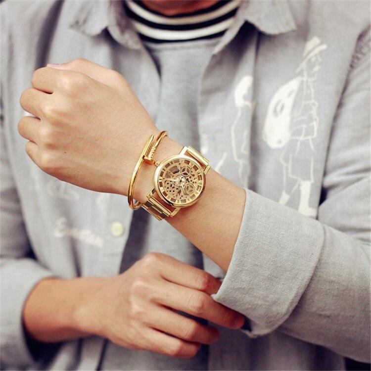 2017 Neue Heiße Uhr Gold Farbe Herren Uhren Casual Marke Luxus Verkauf Damen Business Uhr Stahl Quarz Frauen Kleid Uhren Die Neueste Mode