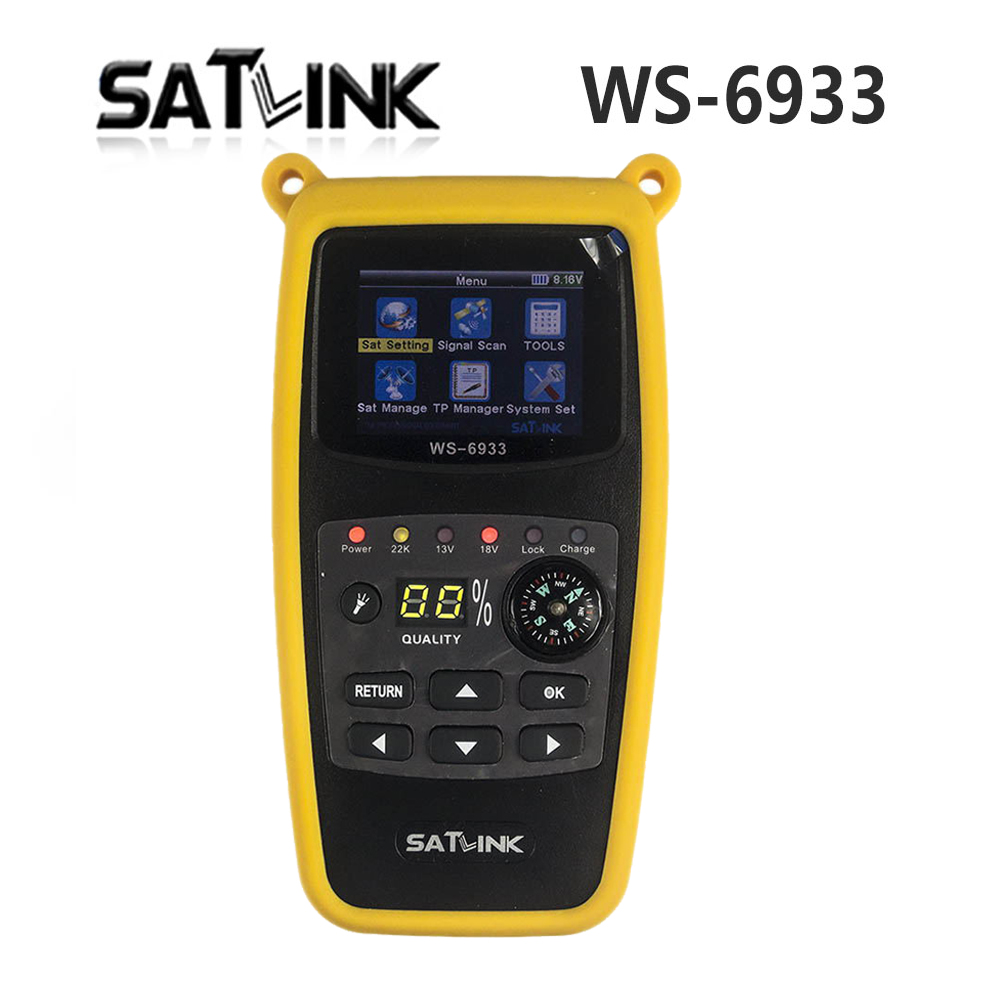 Satlink WS-6933 Satellite Finder FTA Ultra-Fast Compact DVB-S DVB-S2 Signal Meter Receiver WS6933 with Compass FlashLight satlink ws 6979se satellite finder meter 4 3 inch display screen dvb s s2 dvb t2 mpeg4 hd combo ws6979 with big black bag