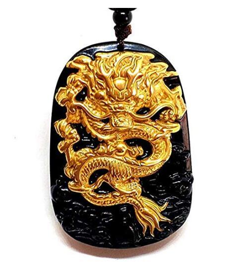 EASTCODE charmant 999 pur or incrusté obsidienne naturelle noir Jades Dragon pendentif collier - 2