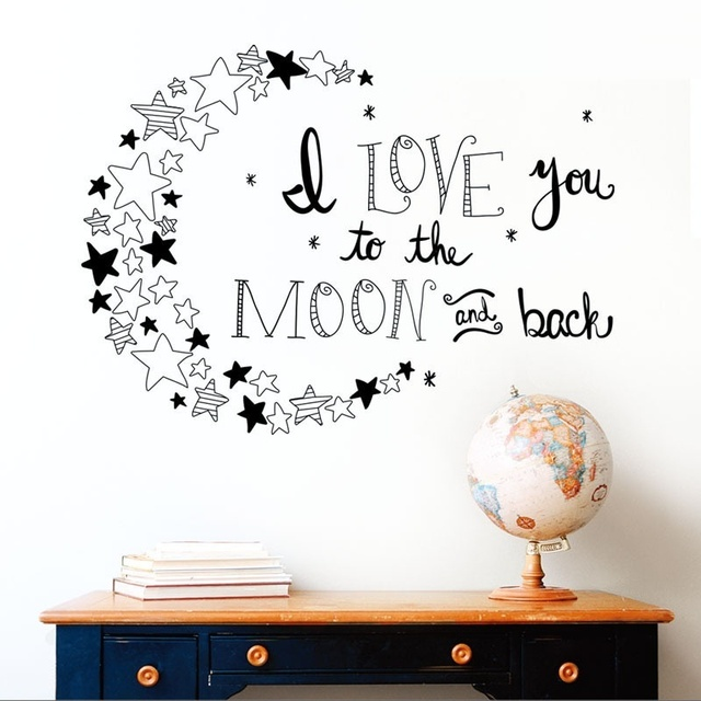 3 colors i love you to the moon and back again quotes wall decals decorative stickers