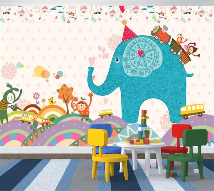 beibehang Custom Photo Wallpaper 3d Mural Kids Room Cartoon Elephant Living Room 3d Background Wall paper Mural papel de parede in Wallpapers from Home Improvement