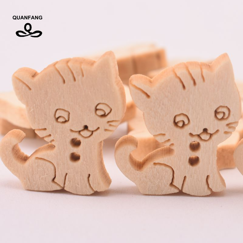 QUANFANG 60pcs 2 hole wooden button cat pattern DIY scraping quilting sewing  decorative crafts  home decoration