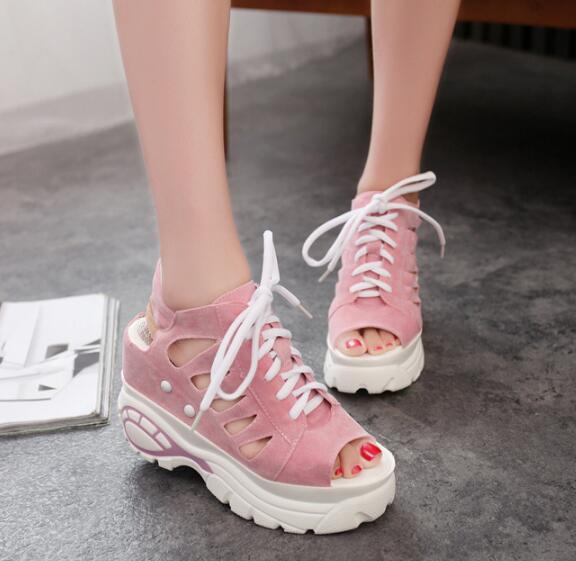 Women Sandals 2018 Summer Rome Casual Shoes Fashion Hollow wedges Lace Up Gladiator Sandals Woman High Heel Sandals Female Y204 2