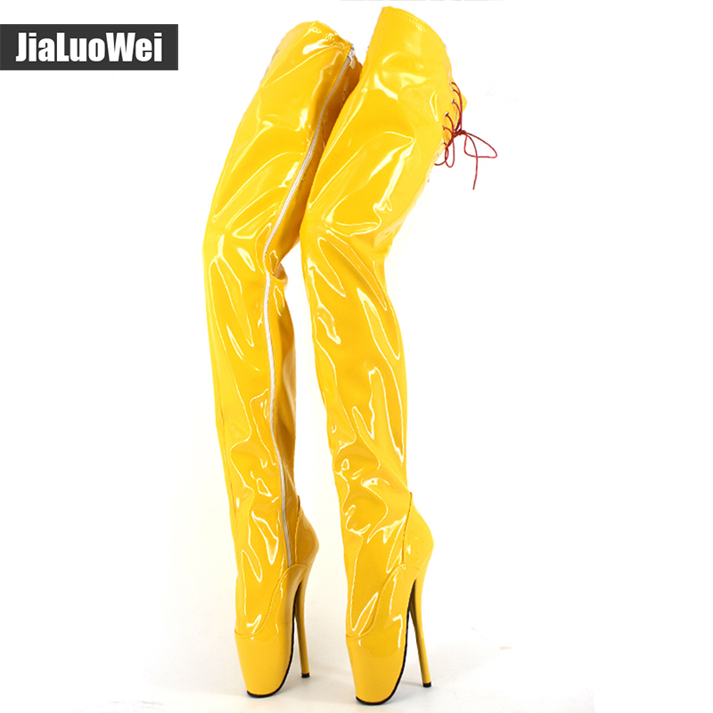 jialuowei Brand New super high heel 18cm sexy fetish lace up Pointed Toe Thin heels over-the-knee thigh high boots crotch boots сабо goergo сабо