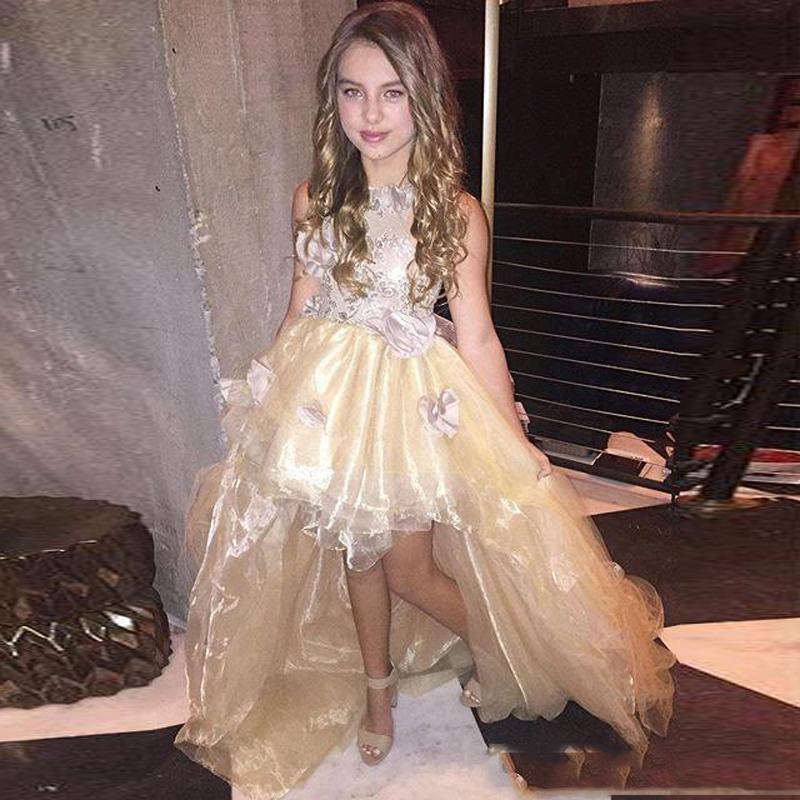 Feathered High Low Prom Dresses Gold