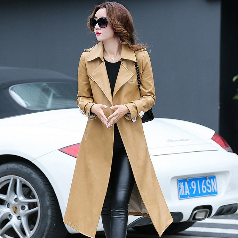 New autumn/winter women's jacket pu jacket trench Europe style outerwear fashion clothing x-long coat maternity clothing 931 ownsun cob angel eye rings projector lens with 3000k halogen lamp source black fog lights bumper cover for skoda fabia 2008 2011