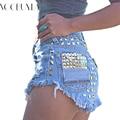 Voobuyla Vintage Rivet High Waist Denim Shorts Women Tassel Ripped Loose Short Jeans Punk Sexy Hot Summer Fashion Short Pants