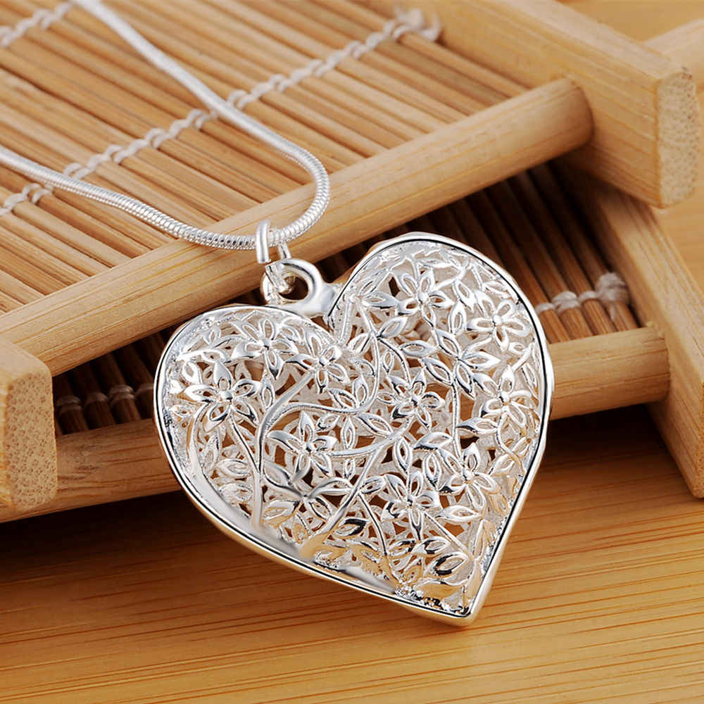 Wholesale different Free shipping fashion silver color jewelry elegant charms retro exquisite heart pendant necklace women ,