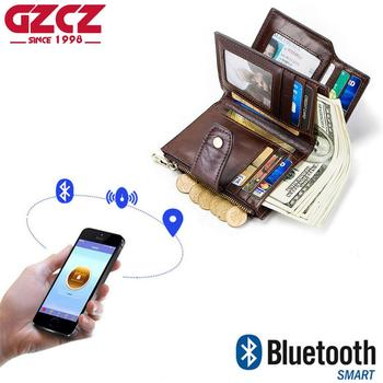 GZCZ Men Smart Wallet Genuine Leather High Quality Anti Lost Intelligent Bluetooth Purse Male Card Holders Suit For Smart Phone