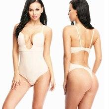 d15473158b412 NINGMI Slimming Body Shaper Lady Party Dress Underwear Sexy U Plunge Bra  Control Panties Bodysuit Shapewear