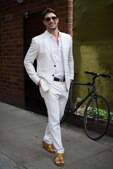 Latest Coat Pant Designs IvoryWhite Linen Casual Men Suit Summer Beach Tuxedo Simple Custom Made 2 Piece Jacket mens suits