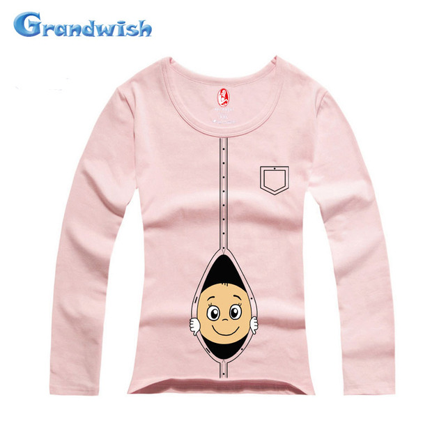Grandwish Maternity Cotton T-Shirt Pregnant Women Shirts Tees Pregnancy Plus Size Long Sleeve Pollover Clothing L-XXL, SC279