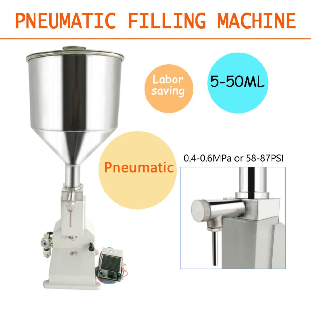 A02 5-50ml Pneumatic Liquid Paste Filling Machine For Alcohol Disinfection Water Cream Shampoo Cosmetic