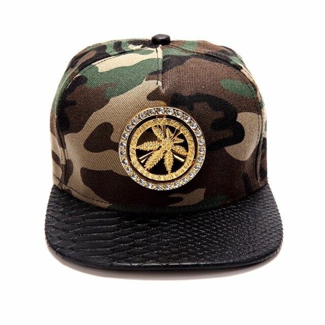 Hip Hop Style Donna Uomo Bling Dorato Spin Strass Foglia di Canapa Cappelli  di Snapback Gorras b0fbccef875c