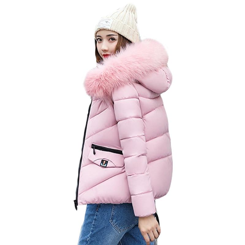 Zipper Fur Hooded Women s Winter Jackets 2017 New Slim Warm Coat Solid Short Parkas Female