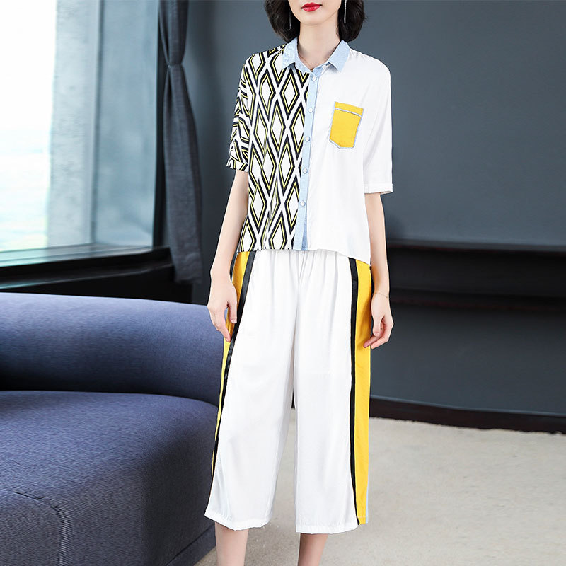 2019 Summer Women Two Piece Outfits Fashion Matching Sets Striped Linen Festival Clothing Co-ord Set White Top and Pant Suits