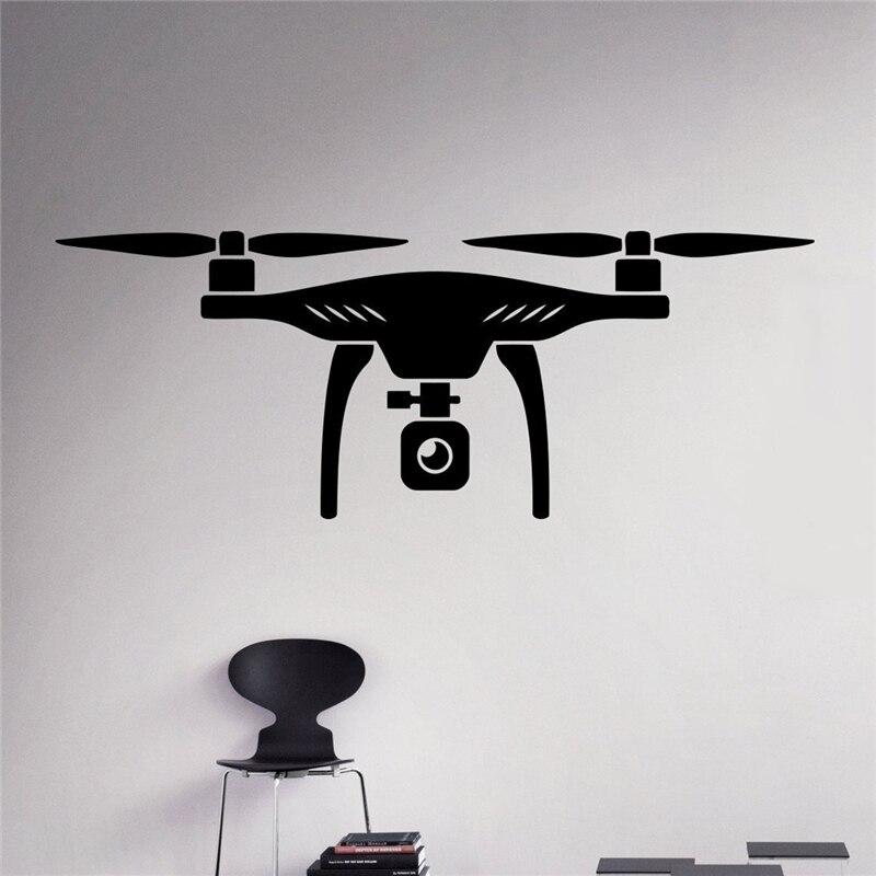 Air Drone Wall Vinyl Decal Quadcopter Wall Sticker Aircraft Home Wall Art Decor Ideas Interior Removable Kids Room Design X103