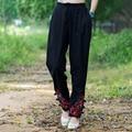 Bordado de la vendimia Pantalones Harem Nueva Moda de Primavera Y Otoño Pantalones de Cintura Elástica Pantalones Largos Ocasionales de Las Mujeres