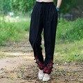Bordado do vintage Harem Pants Nova Primavera E da Moda Outono das Mulheres Calça Casual Cintura Elástica Calças Compridas