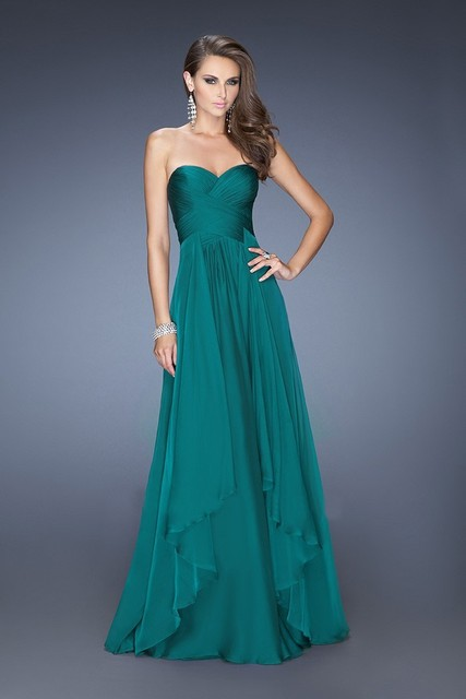 Hot Sale A-line Sweetheart Royal Blue Emerald Green Chiffon Long Evening Dress 2017  robe longue soiree