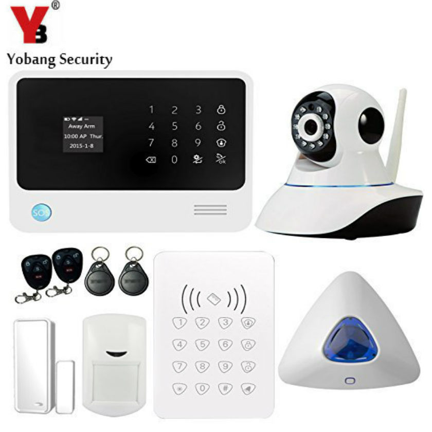 YobangSecurity G90B WIFI GSM Wireless Home Security Alarm System with IP Camera Door Gap Sensor PIR Detector RFID Keypad Alarm цена