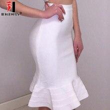 2018 New Mermaid Bodycon Bandage Skirts Sexy Women Evening Party White  Summer Skirt Yellow Black Ruffles Knee-length Skirt Lady 157648029b2a