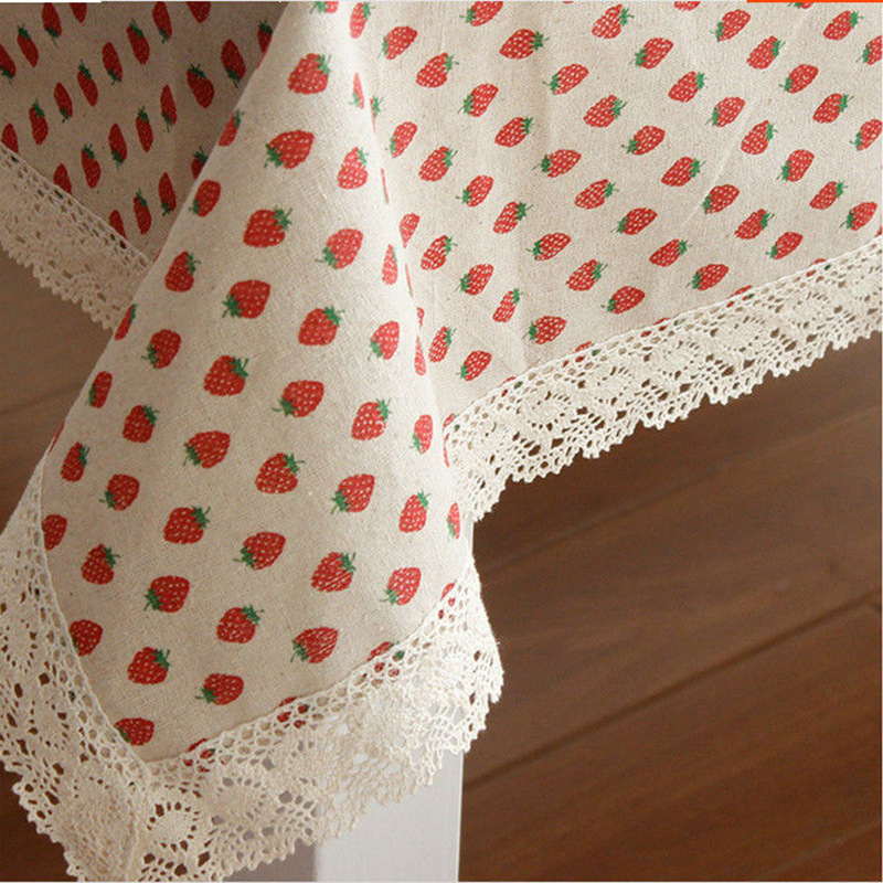Korea lace linen cotton tablecloth rectangular strawberry - Nappe table rectangulaire ...