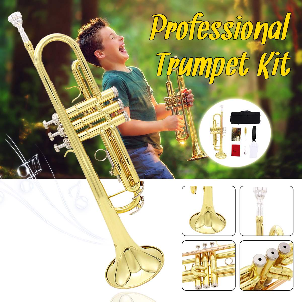 Professional Brass Music Instruments Trumpet With Bag Brass Gold Trumpet Digital Mechanical Welding Pipe Music Adopts