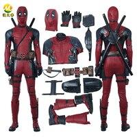 Новейшая модель; Дэдпул 2 костюм для косплея Дэдпул Уэйд Уилсон костюм красный фильма «Дэдпул»; рубашки из искусственной кожи Комбинезон дл