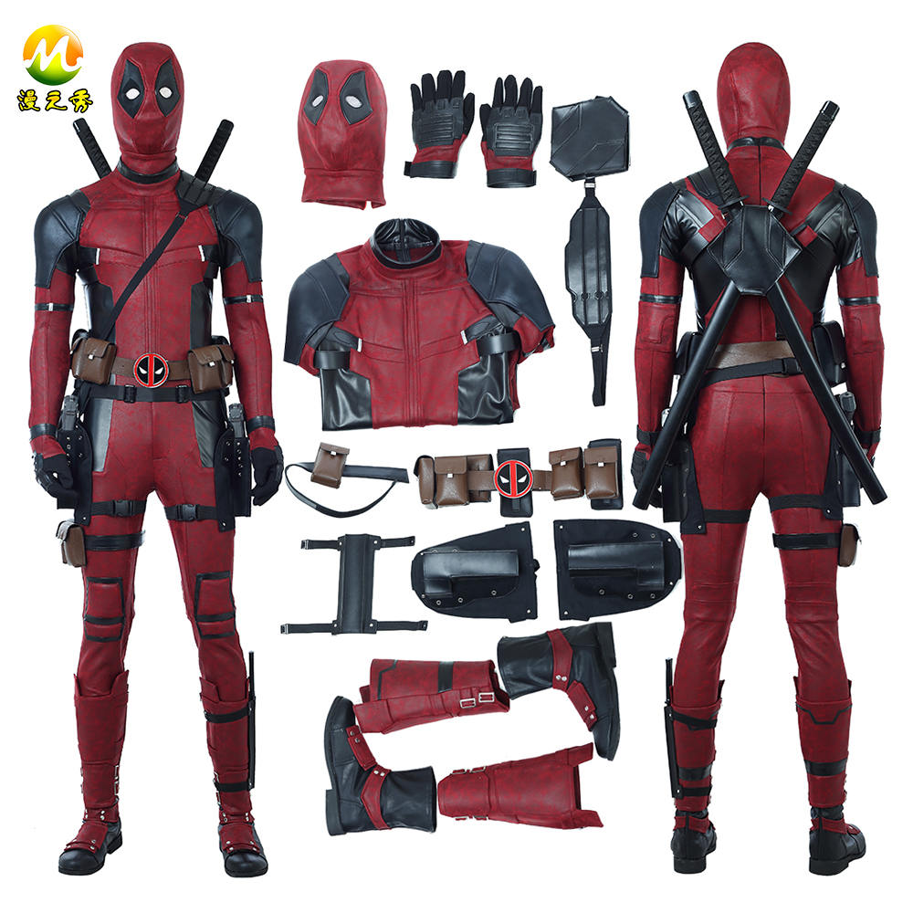 Date Deadpool 2 Deadpool Cosplay Costume Wade Wilson Costume Rouge Deadpool PU En Cuir Cosplay Salopette Pour Halloween Party
