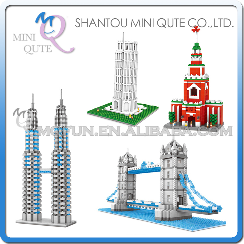 Mini Qute WTOYW WISE HAWK world architecture leaning Twin Towers London Bridge plastic building model brick educational toy barchester towers