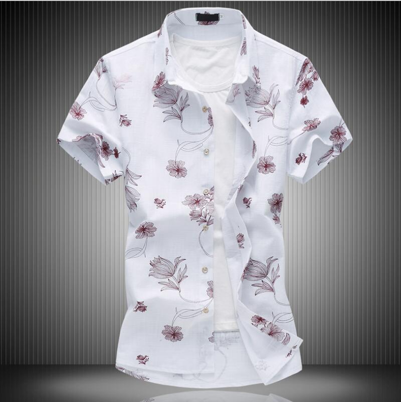 Mens Summer Business Shirt Short Sleeves Turn-down Collar Tuxedo Men Shirts Big Size M-7XL