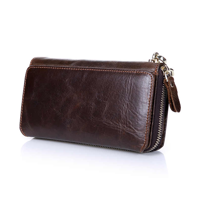 Fashion Brand Business Men's Clutch Bag High Capacity Zipper Long Clutch Wallets Genuine Leather Card Holder Coin Purse