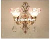 유럽 아연 합금 크리스탈 벽 램프 현대 decora 스타일 합금 led 마운트 램프 통로 침실 침실 옆 거실 홈 조명