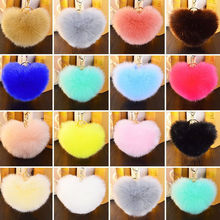 8cm Fluffy Pompom Bal Key Ring for Handbag Pendant Heart Shaped Fur Pom pom Bow Key Chain Artificial Rabbit Fur Ball Keychain(China)