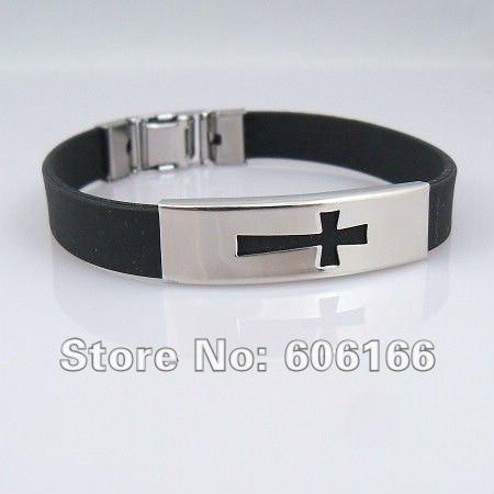 48pcs lot Cross Wristbands Black Silicone ID Stainless Steel Bracelets Catholic Christian Fashion Religious Jewelry