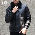 Winter black genuine leather jacket coat men cow leather motorcycle jackets lambwool fur collar pilot real leather coat LT1190