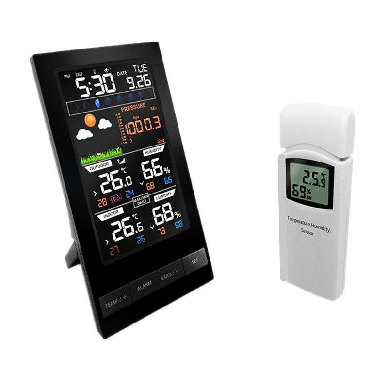 RU Drahtlose Bunte LCD Display Wetter Station Temperatur Feuchtigkeit Sensor Mit Barometer Wetter Prognose Radio Control Zeit
