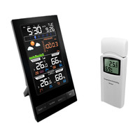RU Wireless Colorful LCD Display Weather Station Temperature Humidity Sensor With Barometer Weather Forecast Radio Control Time