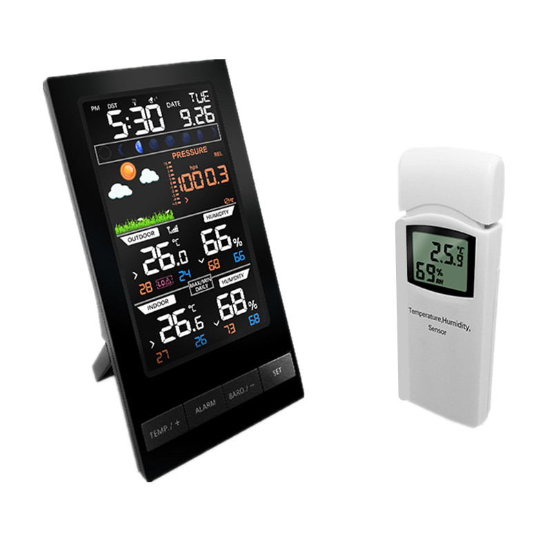 Wireless Colorful LCD Display Weather Station Temperature Humidity Sensor With Barometer Weather Forecast Radio Control Time wireless sensor weather station rcc receiver 8 function keys 5 state weather forecast temperature humidity indicator