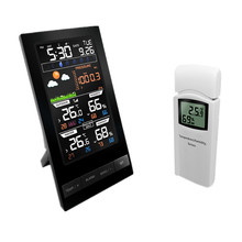 Wireless Colorful LCD Display Weather Station Temperature Humidity Sensor With Barometer Weather Forecast Radio Control Time