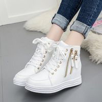 new Outdoor comfortable platform shoes women high top running shoes classic white shoes British style sneakers chaussure femme