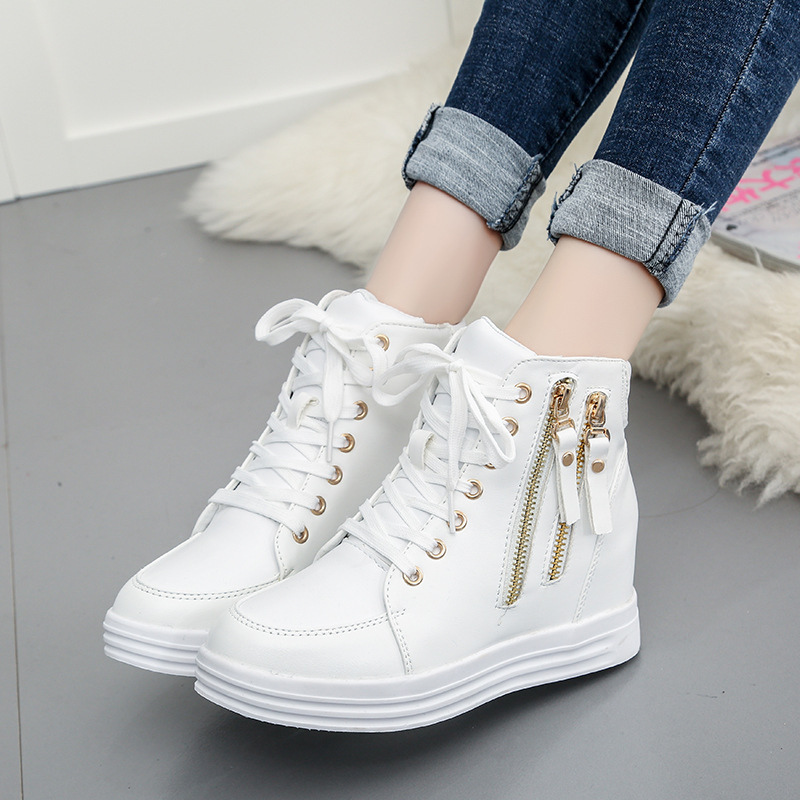 new Outdoor comfortable platform shoes women high-top running shoes classic white shoes British style sneakers chaussure femme