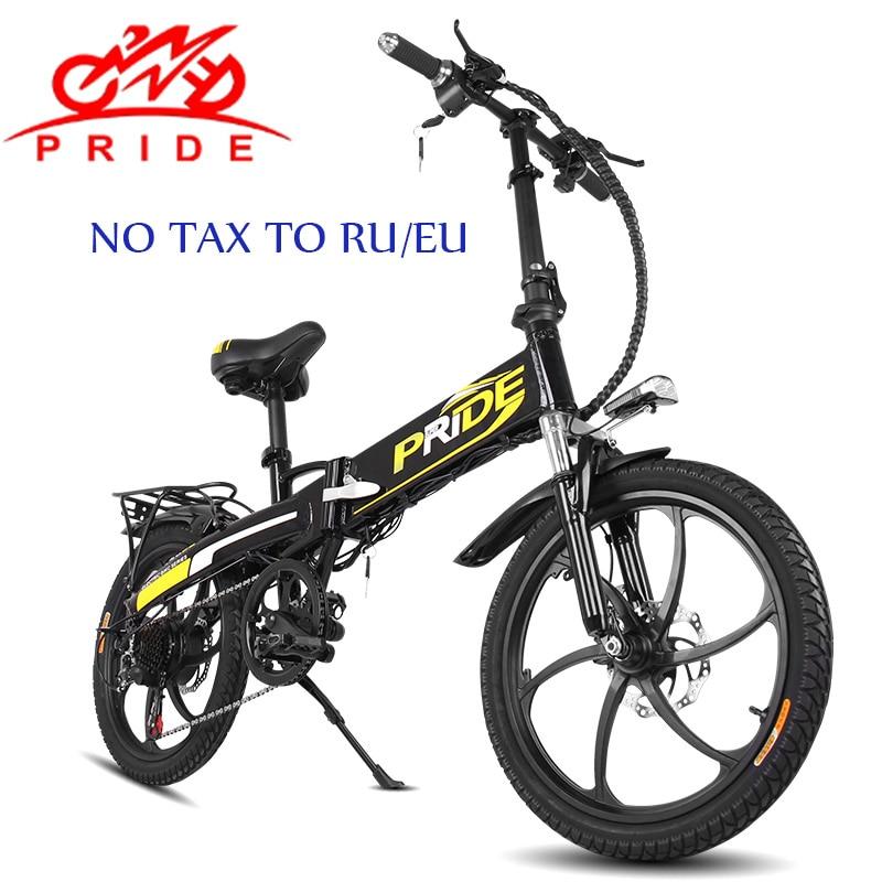 цена на PRIDE Electric bike 20Magnesium Foldable electric Bicycle 48V12A Lithium Battery 350W 7Speed Electric bike Mountain&Snow e bike