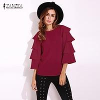 ZANZEA Women Boho Crewneck Ruffled Flared Sleeve Tops Shirts Blouse Autumn Female 3 4 Sleeve Casual