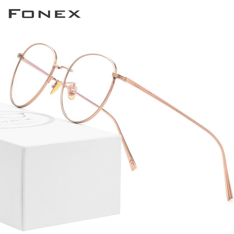 Titane pur lunettes cadre hommes ultraléger rond myopie optique Prescription lunettes cadre 2019 femmes Rose or lunettes 886